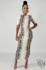 Chantel Snake Skin Midi Dress, Dresses - Designs By Cece Symoné