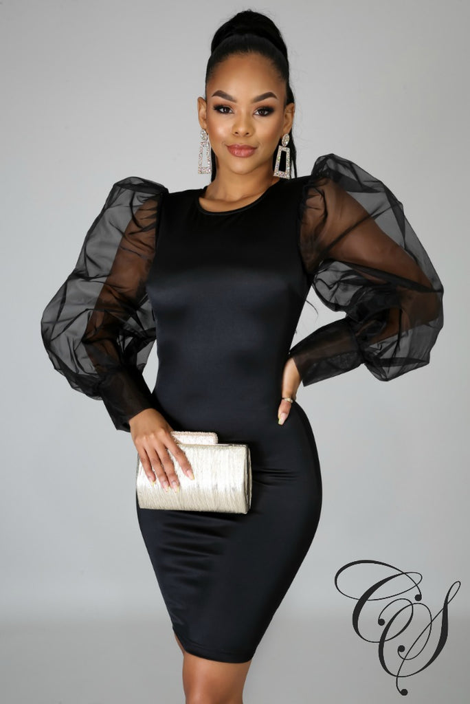 Charlee Organza Puff Sleeve Midi Dress, Dresses - Designs By Cece Symoné