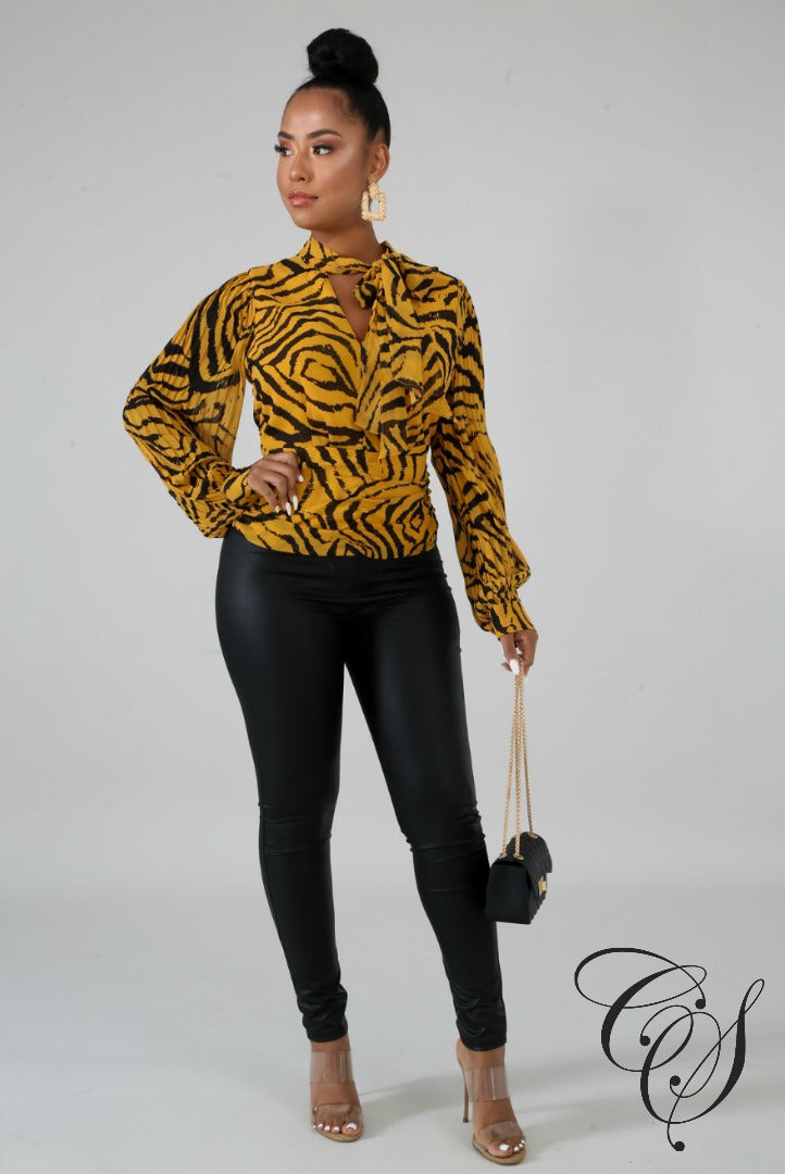 Penelope Pleated Tiger Top, top - Designs By Cece Symoné