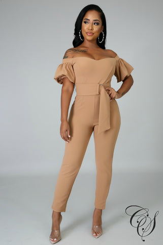 Christine Short Puff Sleeves Jumpsuit