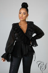 Chrystal Sheer Blouse, Top - Designs By Cece Symoné