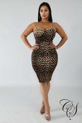 Connie Suede Cheetah Dress