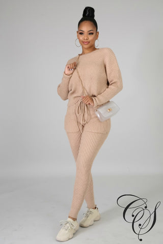 Destinee Rib Knit Pant Set