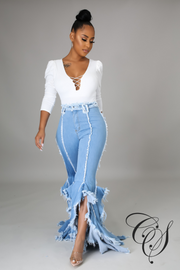 Dominique Ruffle Flare Jeans