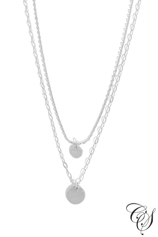Double Disc Layered Charm Necklace