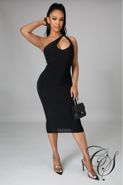 Eleanor One Shoulder Double Layer Midi Dress With Cut Out
