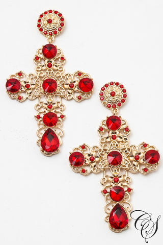 Elegant Gemstones Cross Earrings