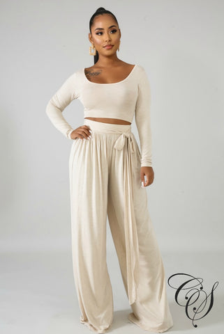 Evelyn High Waist Palazzo Pant Set