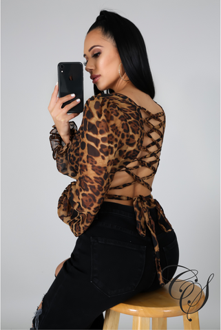 Finley Leopard Back Lace Up Crop Top