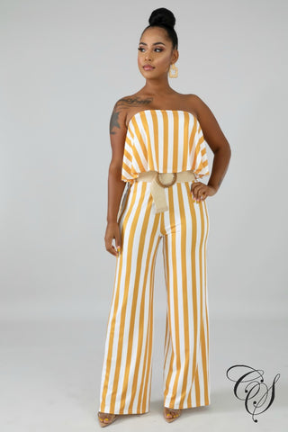 Gayle Ruffle Stripe Tube Jumpsuit