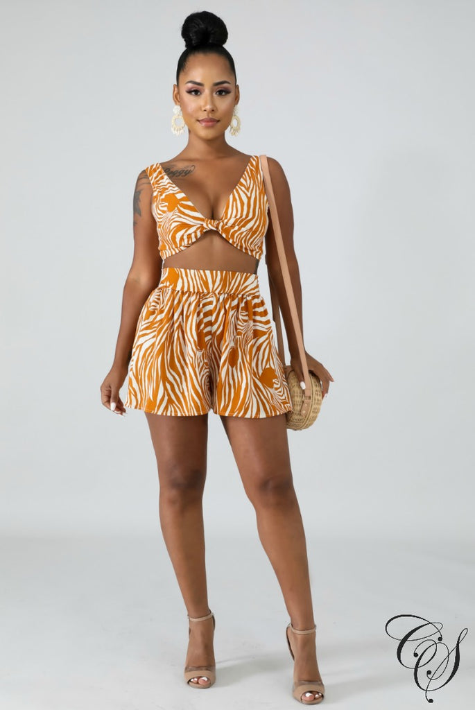 Gina Striped Short Set