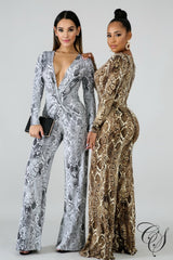 Hailey Plunging Snakeskin Jumpsuit, Jumpsuit - Designs By Cece Symoné