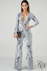 Hailey Plunging Snakeskin Jumpsuit