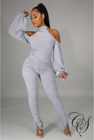 Harper Cold Shoulder Ruched Jumpsuit