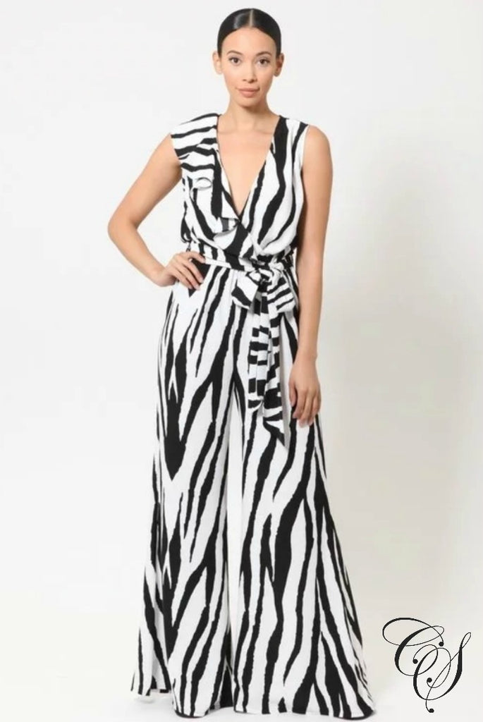 Jane Stripe Print Woven Jumpsuit with Ruffle Detail