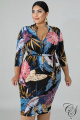 Janessa Fallen Palms Bodycon Dress, Dresses - Designs By Cece Symoné