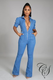 Joyce Belted Flare Leg Denim Jumpsuit