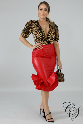 Juliette Leatherette Swirl Skirt