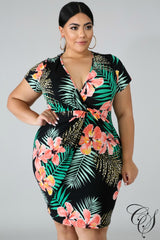 Kailee Exotic Leaves Dress
