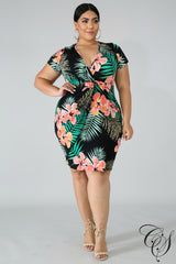 Kailee Exotic Leaves Dress, Dresses - Designs By Cece Symoné