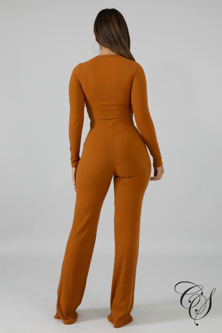 Karen Ribbed Knit Button Pant Set, Set - Designs By Cece Symoné