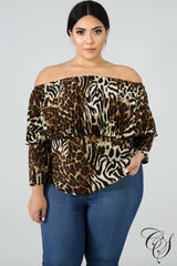 Kellie Pleated Animal Top