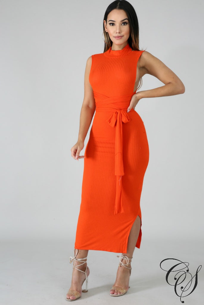 Kennedi Mock Neck Timber Long Dress