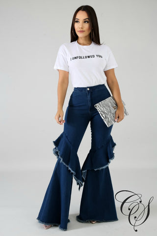 Kennedy Shredded Bell Flare Denim Jeans