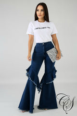 Kennedy Shredded Bell Flare Denim Jeans, Pants - Designs By Cece Symoné