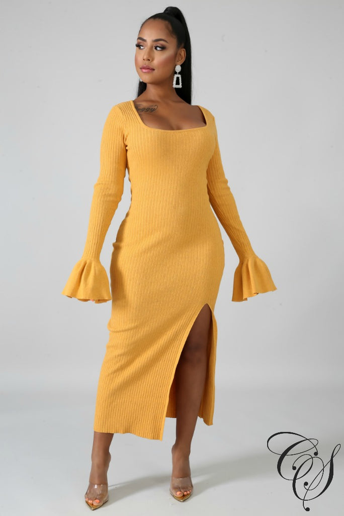 Kerri Knit Me Up Slit Dress, Dresses - Designs By Cece Symoné