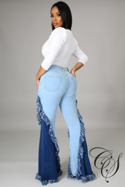 Khadeejah 2 Color Combination Flare Denim Pant