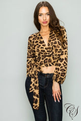 Kristina Plunging Tie-Front Leopard Print Top