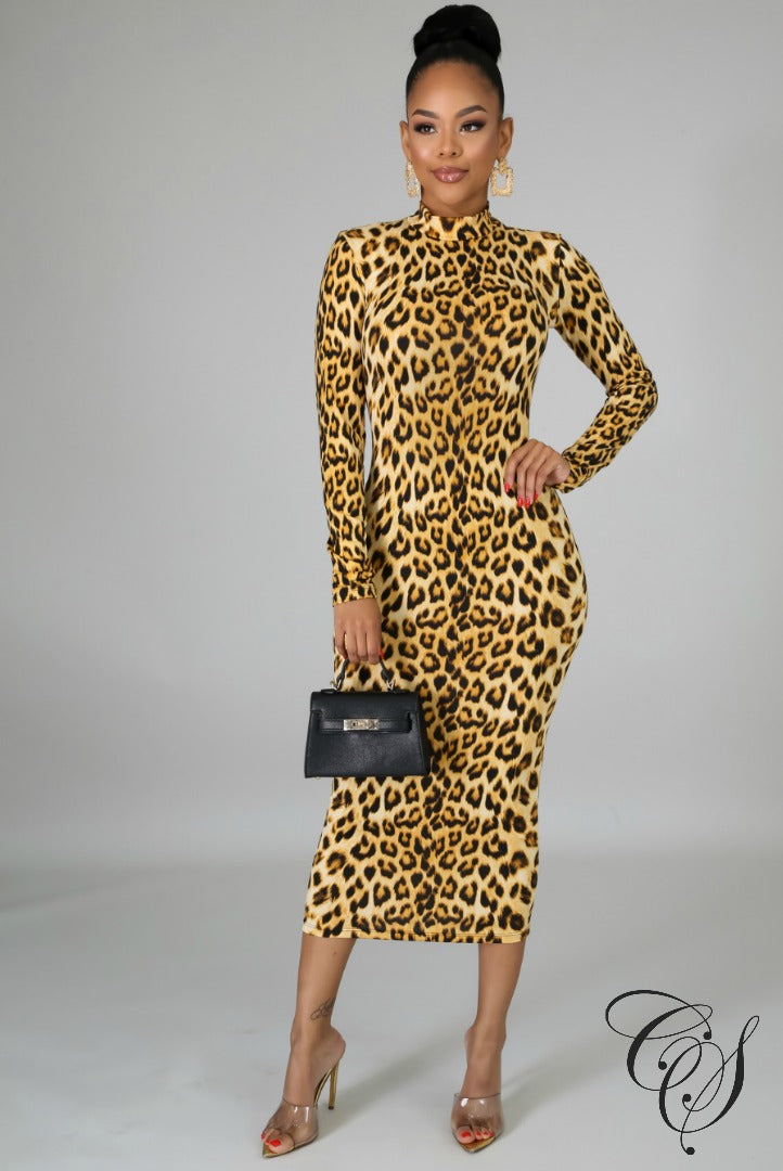 Lacey Turtle Neck Animal Print Dress, Dresses - Designs By Cece Symoné