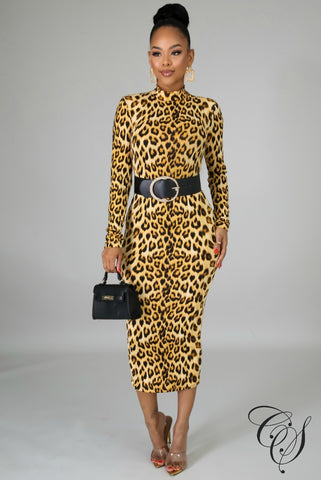 Lacey Turtle Neck Animal Print Dress