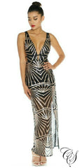 Lanise Black Gold Geometric Sequin Maxi Dress
