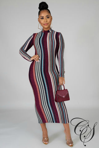 Lia Metallic Striped Midi Dress