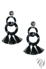 Linked Acetate Hoop Tassel Earrings
