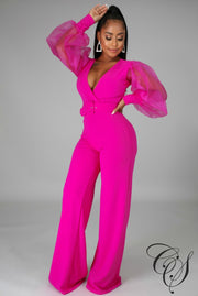 Lola Long Organza Sleeve Jumpsuit