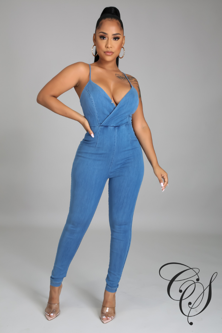 Lovie Back Cutout Front Wrap Denim Jumpsuit