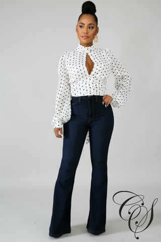 Lyn Shine Polka Dot Top
