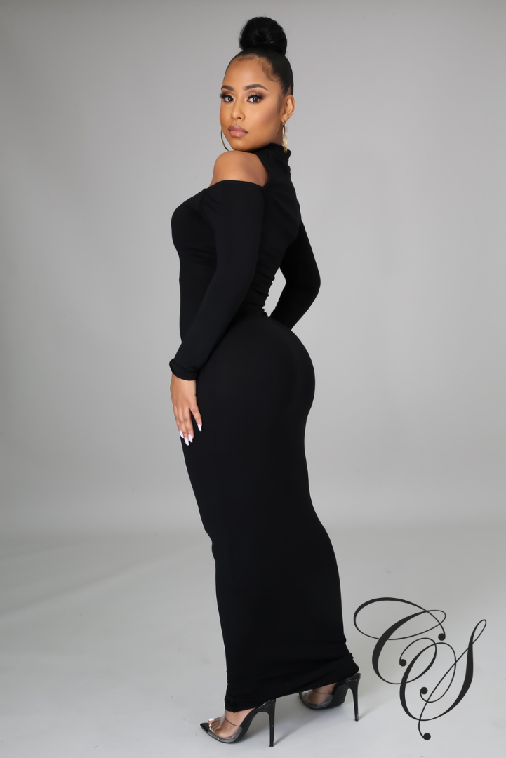 Lyndon High Neck Cut Out Detail Long Sleeve Maxi Dress