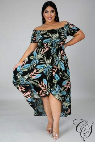 Madeline Tropical Print Dress