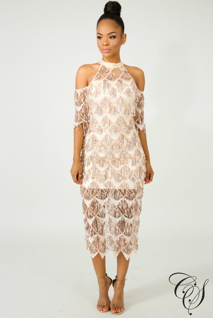 Margaret Fringe Sequin Midi Dress