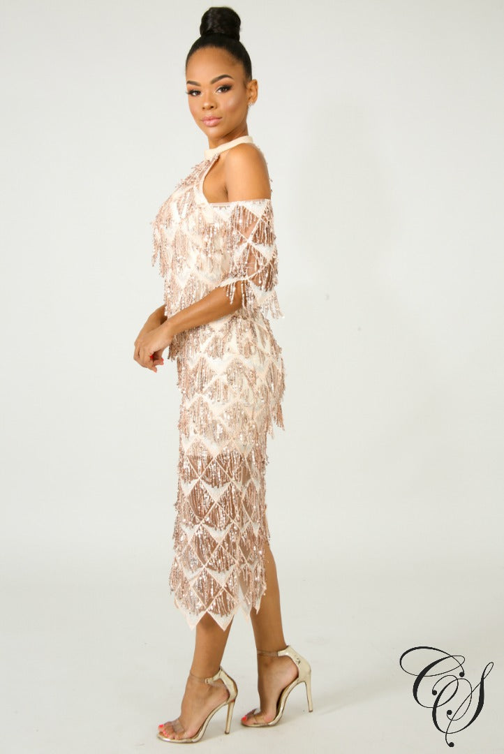 Margaret Fringe Sequin Midi Dress, Dresses - Designs By Cece Symoné