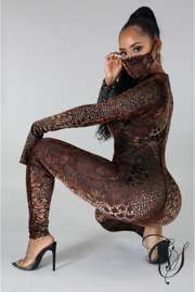 Mariam Animal Print Jumpsuit with Face Mask