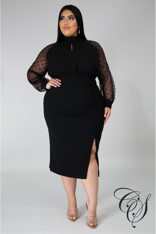 Marsha Black Mesh Dress
