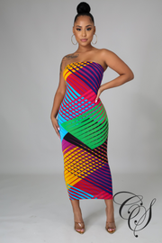 Martina Multi-Color Print Dress Set