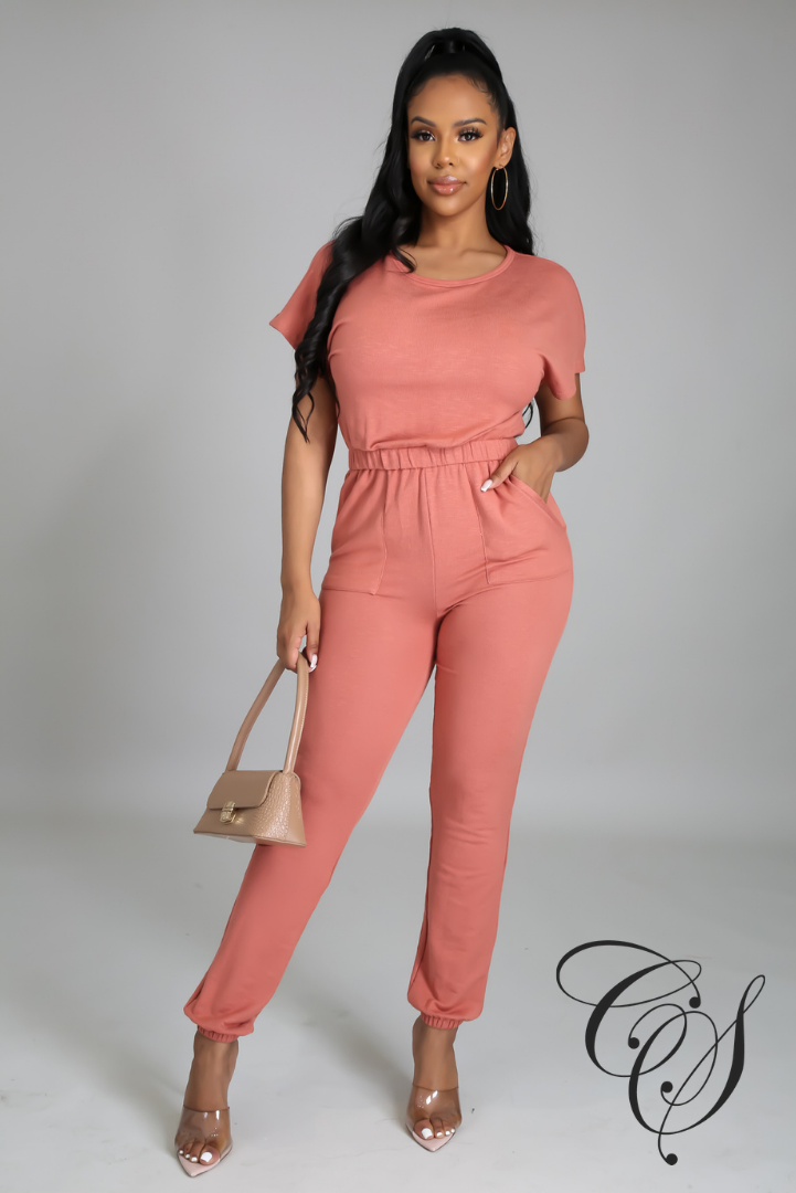 Mattie Short Sleeve Sweat Jumpsuit