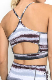 Mel Zen Print Spaghetti Strap Cut Out Sports Bra, active wear - Designs By Cece Symoné