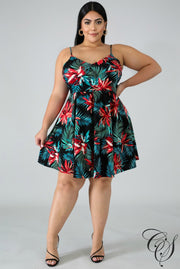Miley Tropical Floral Flare Dress, Dresses - Designs By Cece Symoné
